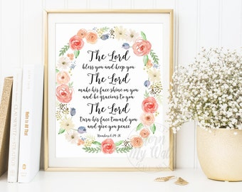The Lord Bless you and keep you, Bible Verse Print, Scripture Wall Art, Christian, Numbers 6:24-26, Bible Quotes, Printable Scripture Prints