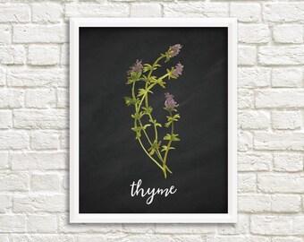 Thyme Herb Printable Wall Art Kitchen Decor Watercolor Herb Print Chalkboard Herb Prints Kitchen Herb Printable Watercolor Thyme Chalkboard