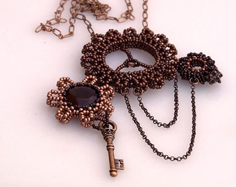 Steampunk necklace with agate and copper chains, bead woven steampunk pendant, statement necklace, copper necklace made in Israel N1387