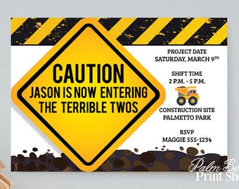 Caution Now Entering The Terrible Twos Birthday Party Invitations - Construction Party Printable - Construction Birthday Party - Yield Sign