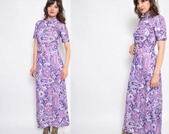 Vintage 70's Lilac Purple Print Maxi Dress  / Lavender Abstract Print Dress - Size Medium