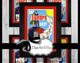 Digital collage/Europe/London/Paris/France/Enland/Venice/Italy/Tourist/Tourism/Vintage/Supplies/Inchies/Dominoes/1 x 1/1 x 2/Retro/Collage