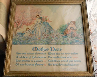 """MARYGOLD MOTHER DEAR Poem Framed Litho Print, Mom & Girl in Blue Dresses, Pink Bouquets Cottage Puffy Clouds, Vintage Mary Gold Art 10"""" sq"""