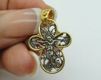 Hand made Russian Orthodox Cross 925 sterling silver & 24K Gold filigree Pendant cross ,holy land. Unique Gift! (c p424 )