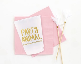 1st Birthday Cups Personalized Zoo Party Cups Girls First Birthday Party Supplies Party Animal Cups Custom Printed Wild Cups Kids Party Cups