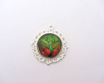 One tree of life glass cabochon pendant