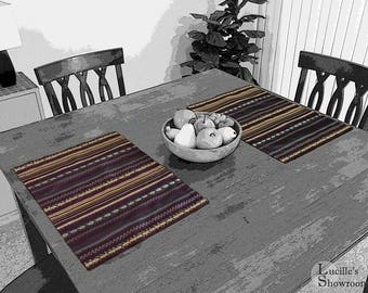 Placemats - Aubergine / Eggplant Placemats - Southwest Style Striped Placemats - Purple and Gold Placemats