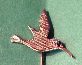 14k Gold Filled and Diamond Hummingbird Stick Pin