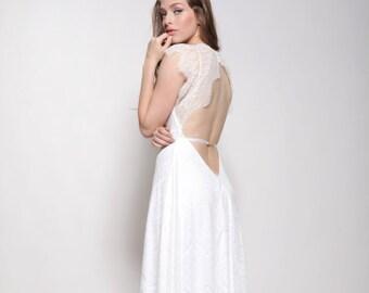 Bohemain lace wedding dress,low back,  lace train dress,mixed lace boho wedding dress