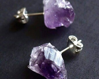 Raw Amethyst Earrings, hypoallergenic, raw crystal,  February birthstone, unisex gifts, gypsy, chakra, jewelry, boho, birthday jewelry