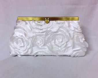 Rose Covered Clutch with Gold or Silver