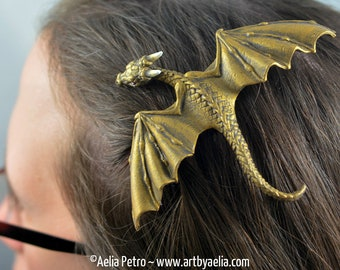 Custom Made Realistic Baby Dragon Hair Clip in Antique Gold - PRE-ORDER