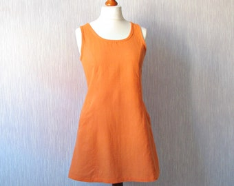 Vintage linen dress Orange Mini Tunic Medium Boho style