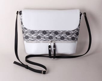 White crossbody bag with lace accent Shoulder bag Crossbody purse White purse Small purse Sling bag Women's handbag Gift for her