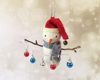 Snowman Ornament - OOAK