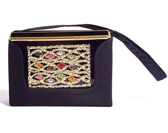 1950s Volupte USA vanity compact   50s jewelled powder compact   swinglok compact with carry purse