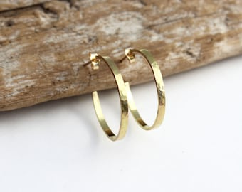Hammered Gold Hoop Earrings 14k Solid Gold Hoops. Solid Gold Hoop Earrings. Rustic Unique Gold Hoop Post Earrings. Medium