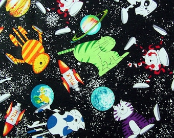 Timeless Treasures Space Cats Planets Rockets Spaceship 100% Cotton Fabric Yardage OOP out of print