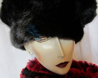 Winter Hat Adjustable Hat, faux-fur sublime imitation Wolf black, custom, 60-61 cm/XL, holiday gift night Christmas new year