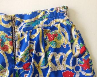 SALE / Vintage 90s high waist blue printed shorts / 90s shorts / printed short pants/ Mini shorts size 8