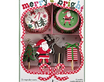 1X Meri Meri, Merry and Bright, Christmas, 24 cupcake Liners and 24 Toppers, Santa, Rudolph,