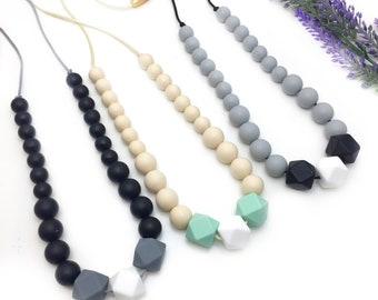Silicone Teething Necklace   Nursing Necklace   Beaded  Necklace   New Mom Gift   Teething Jewelry   Silicone Baby Teether   Bite Beads