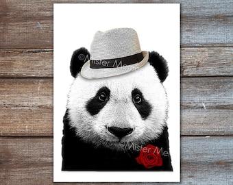 Teddy boy panda, dandy animal, digital illustration, art