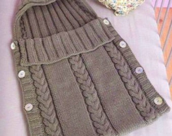 Baby Knit, Cocoon, Bunting, Sleeping Bag, Knitting Pattern, PDF Instant Download.