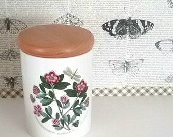 "5"" Storage Jar with Wood Lid Botanic Gardens by PORTMEIRION with Rhododendron Botanic made in England"