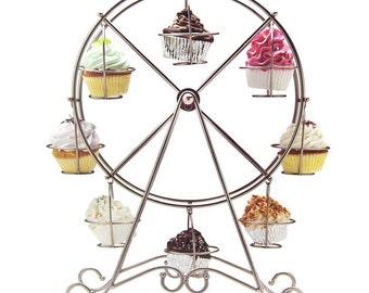 Metal Ferris Wheel Cupcake Stand Holder, 8 Cupcakes