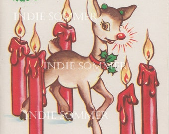 Digital download, Vintage Christmas Card, Rudolph The Red Nosed Reindeer, Two Images!
