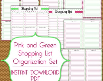 Shopping Lists PDF Instant Download Organization Printable Set in Pink and Green