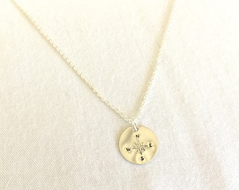 Compass Necklace, Graduation Gift, Travel Necklace, Journey Necklace, 14K Gold Filled, Sterling Silver, Minimalist Necklace, Farewell Gift