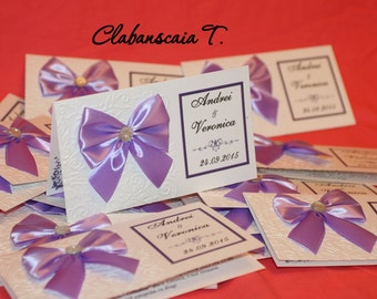 Unique invitation for violet wedding