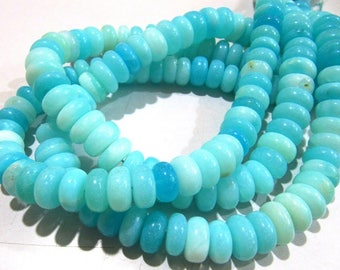 AAA Quality Natural Blue Opal Rondelle Plain Beads 12 to 14 mm, Peruvian Opal Smooth Beads, Strand 8 inches long, Semi Precious Gemstones.