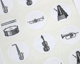 Musical Instruments Stickers - One Inch Round Seals