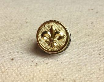 Fleur de Lis Gold Petite Fleur Tie Tack or Lapel Pin in Bright Finish
