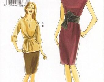 SZ 18/20/22/24 - Vogue Separates Pattern V8278 - Misses' Wide Neck Dress or Top, Slim Skirt and Sash - Very Easy Vogue