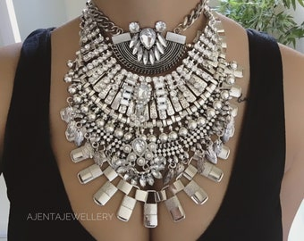 Jackson- Handcrafted dylanlex Inspired coachella festival statement silver crystal rhinetsone ethnic tribal indian  multi layer necklace
