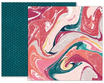 Moonstruck Double Sided Cardstock - #4 Marbled/Teal Pin Dot, Pink Paislee