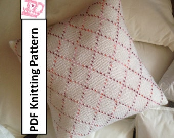 PDF KNITTING PATTERN - Beaded Diamonds 14x14 pillow cover
