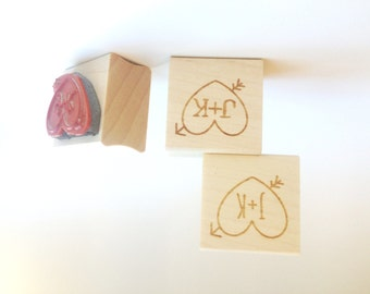 "Custom Heart + Arrow Stamp. 1""x1"" heart stamp. DIY Wedding Stamp. Rustic carved heart decoration."