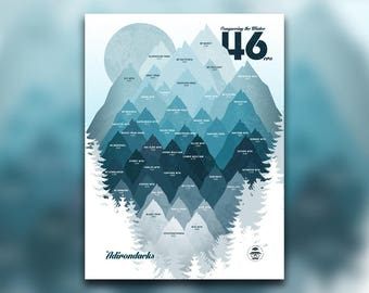 Conquering the Winter 46 • ADK 46ers Print • Adirondacks, NY • Mountain Graphic • Snowy High Peaks • Hiking Decor Poster • New York Wall Art