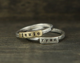 One Word Custom Name Ring Personalized Handstamped Ring