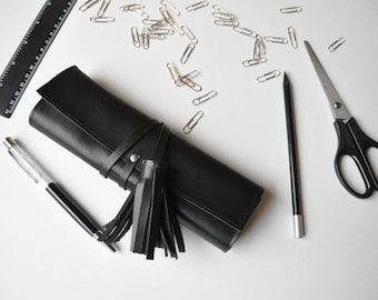 Leather pen case Leather pen holder Pencil case Pen holder Leather pencil case Leather pen pouch Leather pencil roll Leather pencil bag