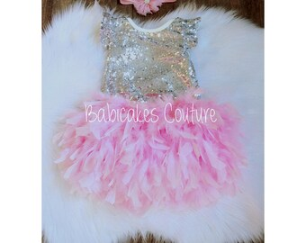 1st Birthday Outfit, Full Feather Bloomer, Baby Girl Silver Sequin Bodysuit, Headband, Pink & Silver 1st Birthday, Fancy 1st Birthday Outfit
