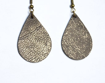 Brushed Pewter Brown Leather Earrings // Brown Mini Teardrop Leather Earrings--Sapling Style Earrings // Leather Earrings // Mini Teardrops
