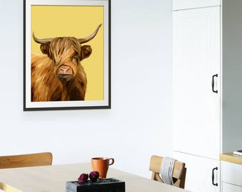 Highland Cow Print. Highland Cow Art. Highland Cow Picture. Farmyard Animals by Green Lili. Wall Art. Gift. Wall Decor