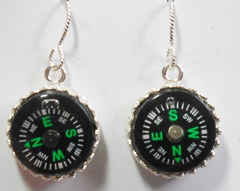 Sterling Silver Compass Hiking Mountain Climbing Earrings