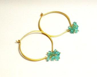 Apatite Gemstone Lotus Loop Gold Vermeil Hoop Earrings - Medium or Large